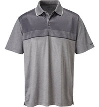 Men's Heathered Chest Stripe Short Sleeve Polo