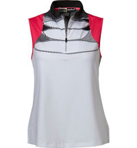 Women's Chest Line Print Sleeveless Mock
