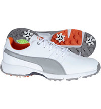 Junior's Titantour Spiked Golf Shoes - Puma White/Drizzle