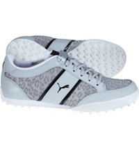 Women's Monolite Cat Mesh Spiked Golf Shoes - Quarry/Puma White/Puma Black