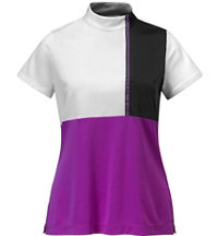 Women's Color Block Zip Short Sleeve Mock