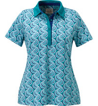 Women's Wave Print Short Sleeve Polo