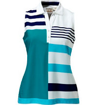 Women's Stripe Print Sleeveless Polo