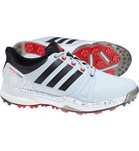 Men's adipower Boost 2 Spiked Golf Shoes - Clear Grey/Core Black/Bright Red