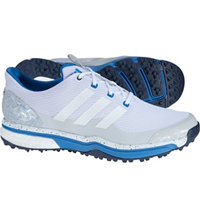 Men's adipower Sport Boost 2 Spikeless Golf Shoes - White/Clear Grey/Ray Blue