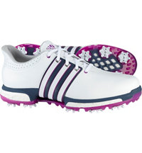 Men's Tour360 Boost Olympic Edition Spiked Golf Shoe - White/Flash Pink/Mineral Blue