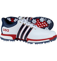 Men's Tour360 Boost USA Edition Spiked Golf Shoes - Ftwr White/Mineral Blue/Scarlet
