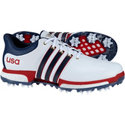 adidas Men's Tour360 Boost USA Edition Spiked Golf Shoes - Ftwr White/Mineral Blue/Scarlet