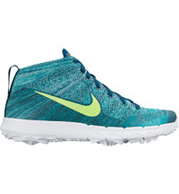 Men's Flyknit Chukka Spikeless Golf Shoes - Teal/Midnight Turquoise/Hyper Jade/Volt