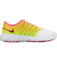 Women's Lunar Empress II Spiked Golf Shoes - White/Pink Blast/Volt/Noble Red