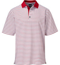 Men's Lisle Striped Solid Trim Short Sleeve Polo
