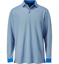 Men's Oxford Stripe Long Sleeve Polo