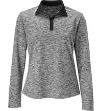 Women's Button Heathered Long Sleeve Mock