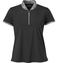 Women's Print Tipped Short Sleeve Mock