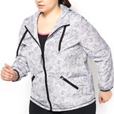 Women's Plus Size Graphic Print Long Sleeve Full Zip Wind Jacket