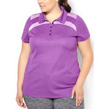 Women's Plus Size Mesh Blocked Double Knit Polo