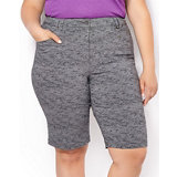 Women's Plus Size Bermuda Printed Stretch Twill Shorts