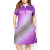Women's Plus Size Jersey Gradient Golf Dress