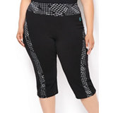 Women's Yoga Capri With Printed Inserts
