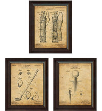 Framed Vintage Art Print (Set of 3) - Club, Tee & Bag