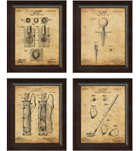 Framed Vintage Art Print (Set of 4) - Club, Tee, Bag, & Ball