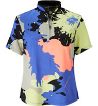 Women's Short Sleeve Paint Print Zip Mock