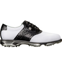 Men's DryJoys Tour Spiked Golf Shoe-White/Black (#53610)