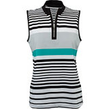 Women's Striped Zip Sleeveless Mock
