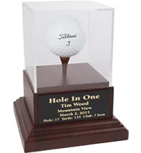 Acrylic Hole-In-One Display with Wood Base and Black Plate