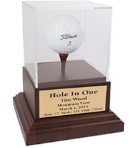 Acrylic Hole-In-One Display with Wood Base and Brass Plate