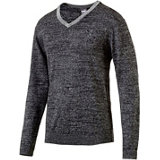 Men's V Neck Heathered Long Sleeve Sweater