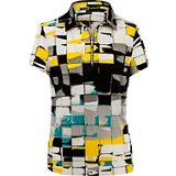 Women's Digital Boxes Print Short Sleeve Mock