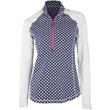 Women's Raglan Long Sleeve Quarter Zip Printed Top