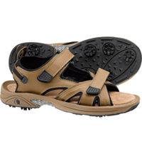 Men's Spiked Golf Sandals - Camel/Black