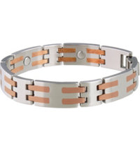 Men's Stainless/Copper Bar Magnetic Bracelet