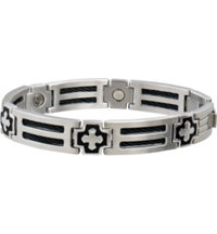 Men's Cross Cable Stainless Magnetic Bracelet