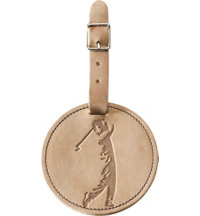 Personalized Full Grain Leather Bag Tag - Male Golfer