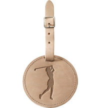 Personalized Full Grain Leather Bag Tag - Female Golfer