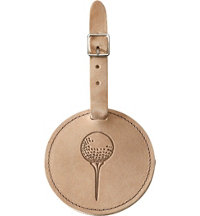 Personalized Full Grain Leather Bag Tag (Ball-On-Tee)