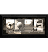 Framed Art - Mini Golf Letters, Black and White Canvas (9.5