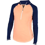 Women's Piped Long Sleeve Mock Top