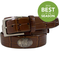 Collegiate Croco Print Leather Belt (Brown)