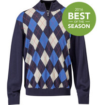 Men's Jupiter Merino Argyle Half-Zip Long Sleeve Top