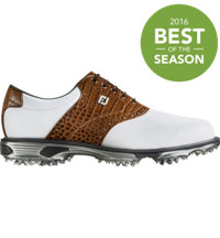 Men's DryJoys Tour Spiked Golf Shoes - White/Brown (FJ# 53677)