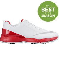 Junior's Control Jr. Spiked Golf Shoes - White/Metallic Silver/Bright Crimson
