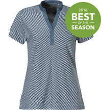 Women's Polka Stripe Short Sleeve Mock