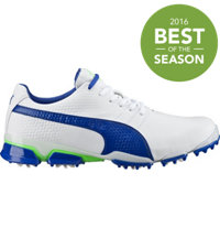 Men's Puma Titantour Ignite Spiked Golf Shoes - White/Surf the Web