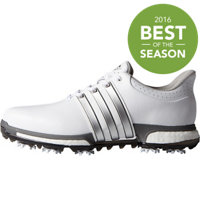 Men's Tour360 Boost Spiked Golf Shoes - White/Silver Metallic/Dark Silver Metallic