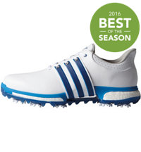 Men's Tour360 Boost Spiked Golf Shoes - White/Blue/Shock Blue