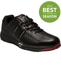 Men's Chev Comfort Spikeless Golf Shoes - Black/Black/Crimson (# M188-02)